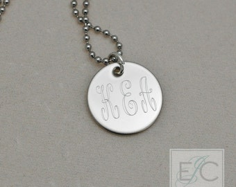 "3 same size initials engraved necklace, .625"" pendant"
