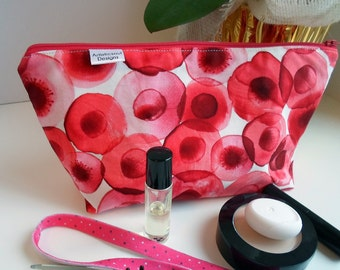 Makeup Cosmetic Bag, Red Petal, Marsala w/Zipper