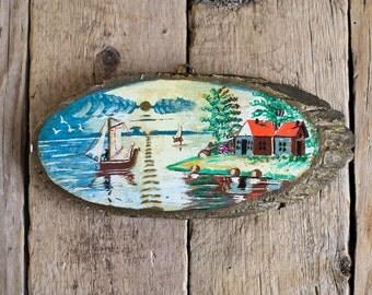 Vintage Hand Painted Landscape on Tree Slice, Picture on Wooden Slice