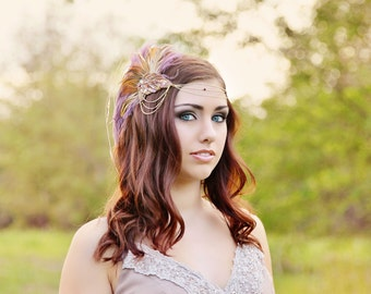 Soft Purple and Amber Fascinator with gold accents