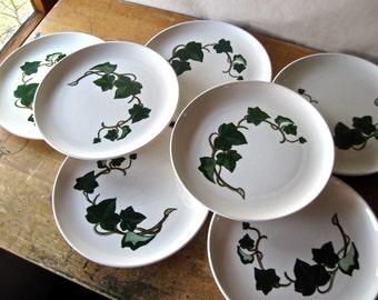 Metlox Poppytrail California Ivy, Set of 7 Dinner Plates, Metlox Dinnerware, Vintage Plates, Metlox Pottery, Vintage China, Mid Century