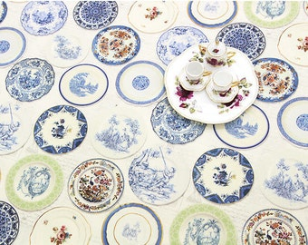 """Dish Wear Cotton Linen Fabric Panel - By the Panel (59 x 36"""") 65551"""