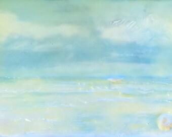"""shore - 3.5""""x5"""" - original encaustic painting peaceful, impressionist, landscape, seascape, clouds, ocean"""