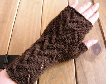 Brown hand knitted fingerless gloves / wrist warmers