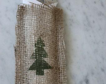 Apline Tree Stamped Burlap Silverware Holder - Bakers Dozen