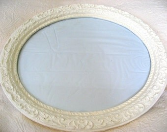 ornate oval frame with wavy glass antique vintage distressed cottage french english