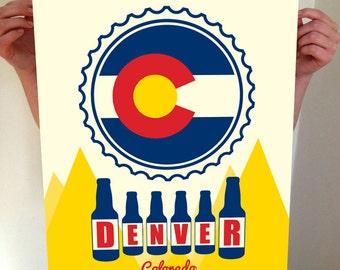 Denver, Colorado, Denver Beer, Denver Typography, Denver Print, Denver Art, Denver Sign, Denver Poster, Denver Colorado, Typography