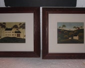 Vintage Warren Kimble pictures pair, salt box Colonial houses one with quilt, another with extra house and  trees, folk art, nice, Americana
