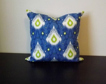 Decorative Throw Pillow, Blue Ikat Pillow Cover, Sofa Pillow, Decor Pillow, Toss Pillow, Accent Pillow,16x16,18x18