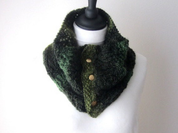 moss green cowl green scarf with buttons winter scarf