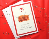 """Personalised Highland Cows Valentines Card. 'Moo are the Haggis to my Neeps and Tatties'. Silly but Fun! 5"""" x 7"""" Handmade with envelope."""