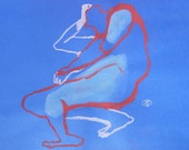 Blue red white Painting Drawing Figurative art male nude figure sitting man torso