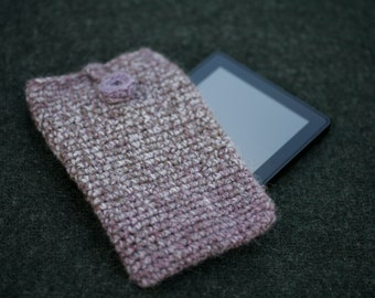 Crocheted kindle / kindle fire cover in a variegated purple and mauve with crocheted button fastener