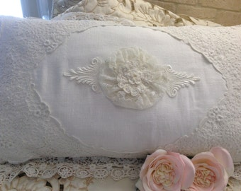 SALE! Vintage/Antique Lace Linen Pillow