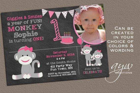 Sock monkey birthday invitation monkey party monkey invitation first il570xn filmwisefo