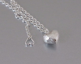Silver Heart Necklace. Valentine's Day Necklace