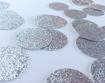 100 Silver Glitter Circle Confetti - 1 Inch Diameter - Confetti for weddings, birthdays, parties and more!