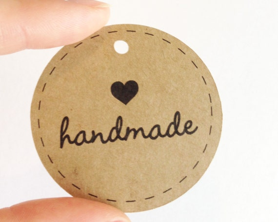 "Handmade Circle Tags - 2.0"" - Etsy Shop Supplies. Handmade Packaging. Handmade With Love Tags. Wedding Favor Tags."