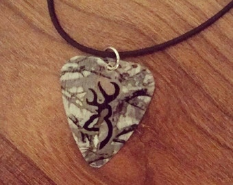 Realtree Camo with black deer head symbol guitar pick necklace jewelry for country southern hunting guy or girl