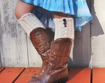 Knitted Boot Cuffs Boot Toppers with vintage buttons - women's OOAK cable knit