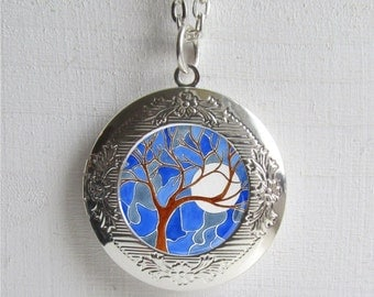 Photo Locket , Silver Locket, Tree Necklace, Tree Locket, Tree Jewelry
