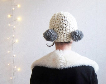 Hand knitted Pompom Hat white. Knit white Cap White Knit Bonnet Two Pompom Hood Knitted Cap 20's inspired Chunky pompom hat, chunky knit hat