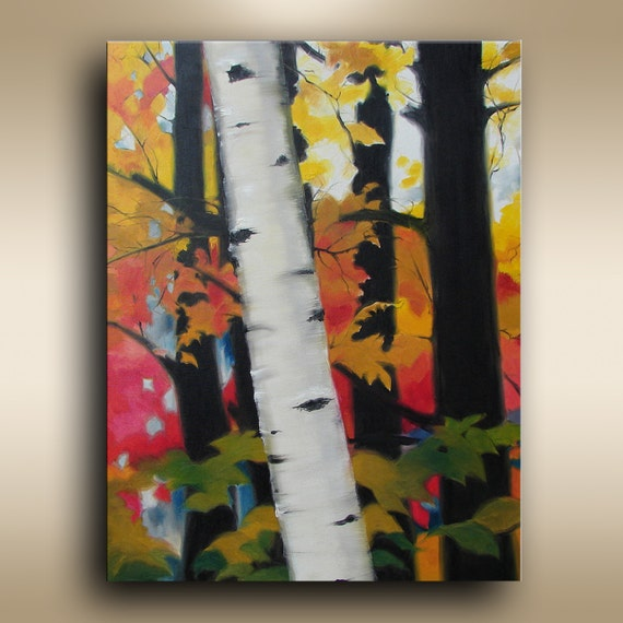 """30""""x24"""" Birch Tree Painting ORIGINAL oil Painting on Canvas Art Fine Art, Fall Autumn Forest Painting Red Painting Original Painting"""
