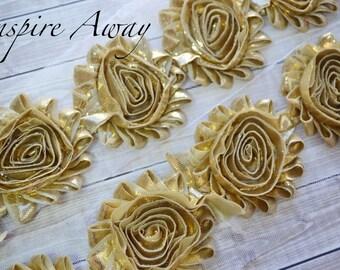Gold Shabby Chiffon Flower Trim - Your choice of 1 yard or 1/2 yard -  Chiffon Shabby Rose Trim, DIY headband supplies,