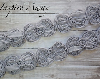 "Grey Mini Bow Trim - 1 YARD-Wholesale Discounts - Mini 2.5"" chiffon bow trim -Supplies, DIY headband supply, DIY hair bow"