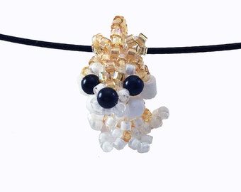 Shiba Inu Necklace, beaded shiba inu, beaded dog, seed bead jewelry, beaded animal, charm, dog necklace