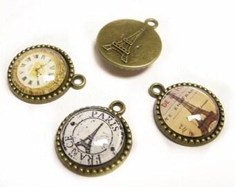 4pc mix pattern 26x21mm Glass Cabochons pendants-9609