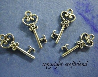 12pc antique silver finish key charms-1703