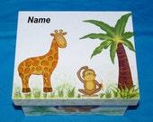 Custom Baby Keepsake Memory Box Personalized Hand Painted Jungle Baby Boy Baby Girl