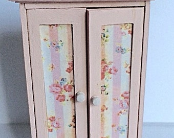 Dollhouse half scale pink wooden wardrobe