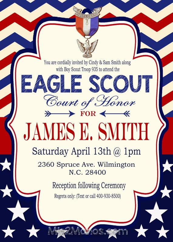 Eagle Scout Invitation Court of Honor Invitation Boy Scout