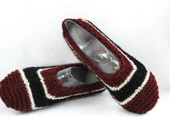 ON SALE Women Merino Wool Slippers. Burgundy Black White Stripes.