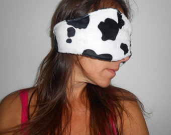 Extra Long Cow Print Minky Sleep Mask