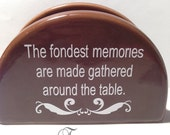Brown Ceramic Napkin Holder with Quote and 'D' Initial Monogram
