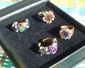 free shipping MICHAL NEGRIN 4 rings  circa 1978's made in ISrael