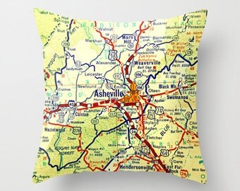 North Carolina Map Pillow Cover, Asheville NC, WNC Map, Realtor Gift, Asheville Map, Decorative Pillow, Throw Pillow, Realtor Closing Gift