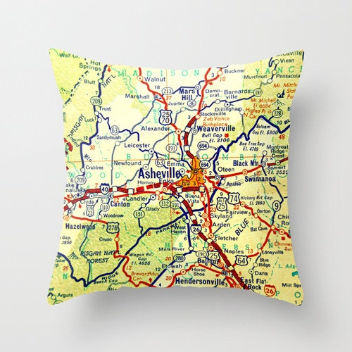 North Carolina Map Pillow Cover Asheville NC WNC Map