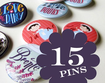 15 literary pins, choose your favourite buttons.