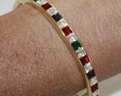 Vintage Bangle Bracelet Channel Set Rhinestone Hinged Stacking 1970s Jewelry