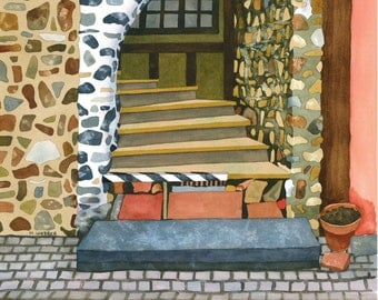 Rustic French Doorway Cottage Village Limited Edition Signed Print