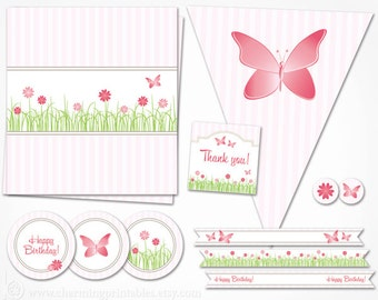 Garden Party Decorations - INSTANT DOWNLOAD Pink Printables for Garden Flower Birthday Party Package - Butterfly Birthday Decor