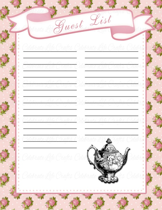 Baby Shower Guest List   Printable Baby Shower Party Decorations   Vintage  Garden Tea Party Baby Girl   G022  Party Guest List