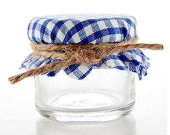 Navy and White Gingham Jar Covers / Toppers for Wedding Honey Jam Favors