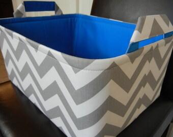 "Ex Large Toy Basket-14""x 10""x 7""(CHOOSE Basket & Lining COLOR)Ex Large Toy Bin-Baby Gift-Fabric Storage Organizer-Chevron-""Grey Zigzag"""