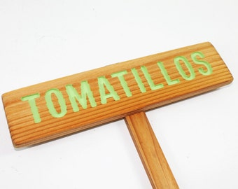 TOMATILLOS Garden Sign,Gift for Gardener, Painted Light Green & Oil Sealed Cedar Wood: Hand Routed Sign, Vegetable Plant Garden Markers