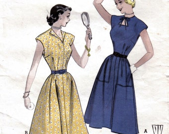 Misses or Teen Cut-Out Neckline Wing Collar Dress Full Skirt 1950's Vintage Sewing Pattern Quick and Easy Butterick 5835 Size 16 Bust 34